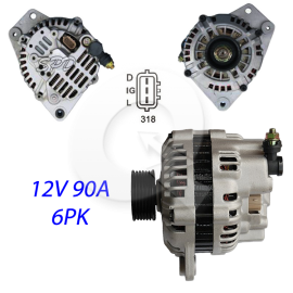 ALTERNADOR 12V 90A, 6PK,CHERY A3,A5,TIGGO 1.6/2.0