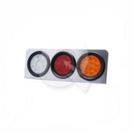 FAROL CON BASE TRIPLE DE 4', 24V, 12 LED, AM/RO/BL