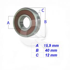 RODAMIENTO 6203-2RS 5/8', 15.9x40x12mm