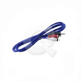 CABLE RCA 2 X 1, MACHO, PLUG 3.5mm, 1.5 mts, AZUL